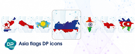 Asia flags DP icons